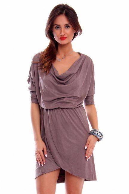 Sukienka zamszowa fala CMK264 beżowa