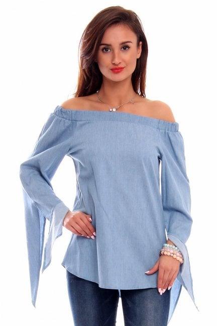 Bluzka jeansowa hiszpanka CMK265 niebieska