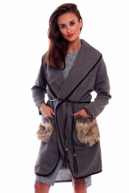 Płaszcz futrzane kieszenie CMK250 szary