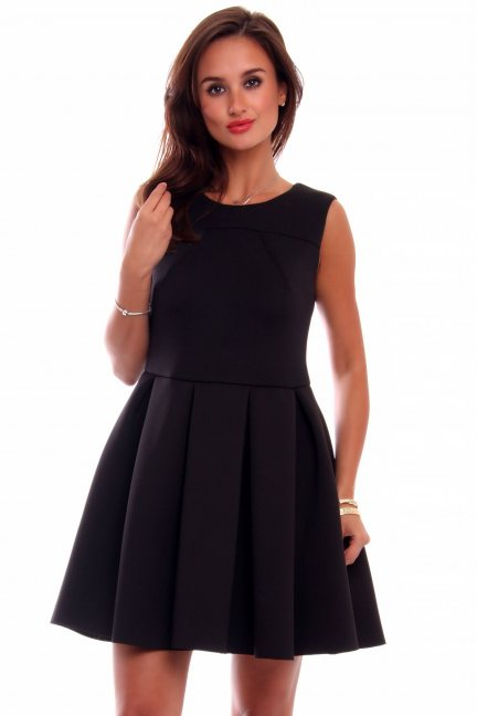 Sukienka pianka zakładki CM259 czarna