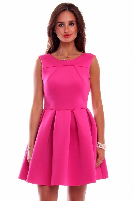 Sukienka pianka zakładki CM259 różowa