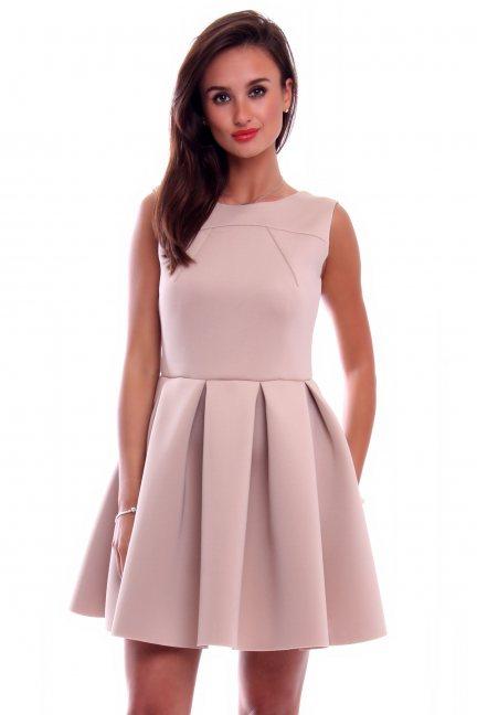 Sukienka pianka zakładki CM259 beżowa