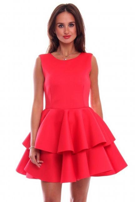 Sukienka z falbanką z pianki CM370 koralowa
