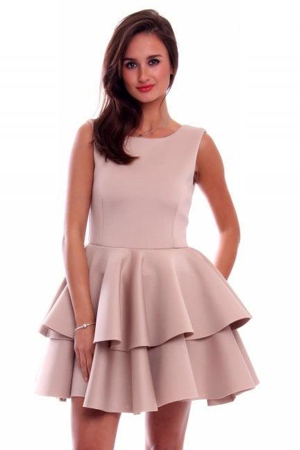 Sukienka z falbanką z pianki CM370 beżowa