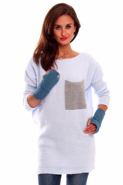 Sweter tunika z kieszenią CMK2021 błękitny