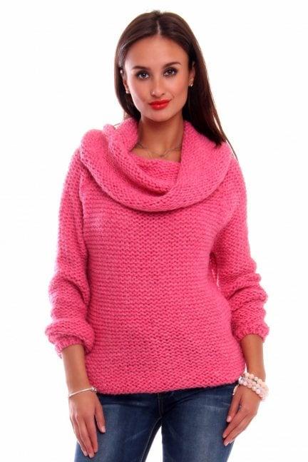 Sweter ciepły z dużym golfem CMK2033 fuksja