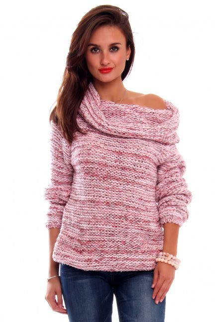 Sweter ciepły z dużym golfem CMK2033 różowy