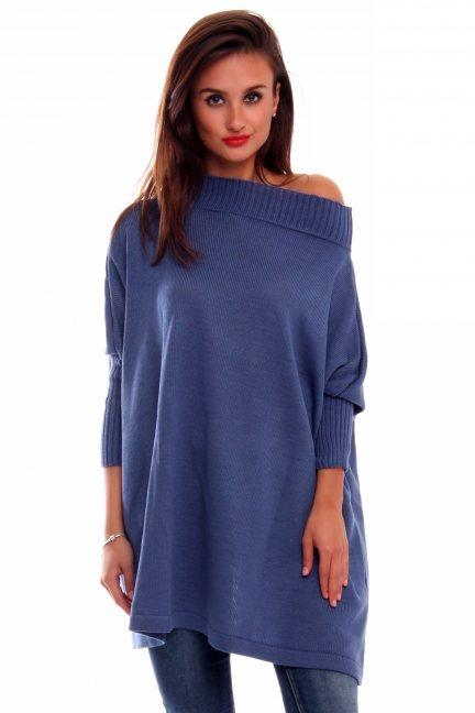 Sweter odkrywający ramiona CMK2024 niebieski