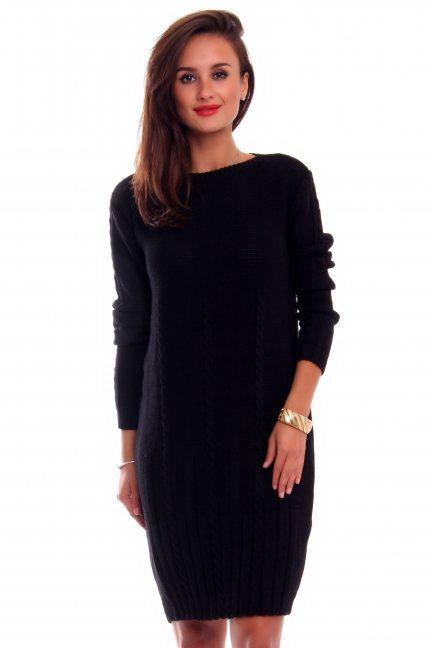 Sukienka ciepła warkocze CMK2034 czarna