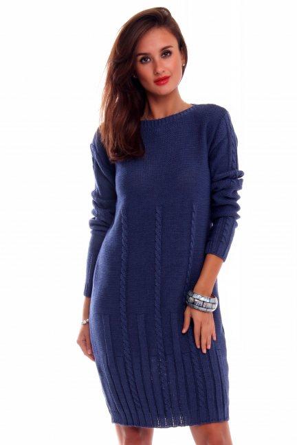 Sukienka ciepła warkocze CMK2034 niebieska