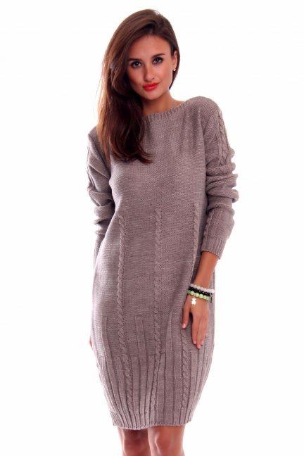 Sukienka ciepła warkocze CMK2034 beżowa