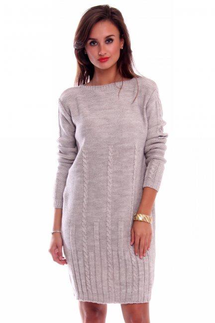 Sukienka ciepła warkocze CMK2034 jasno beżowa