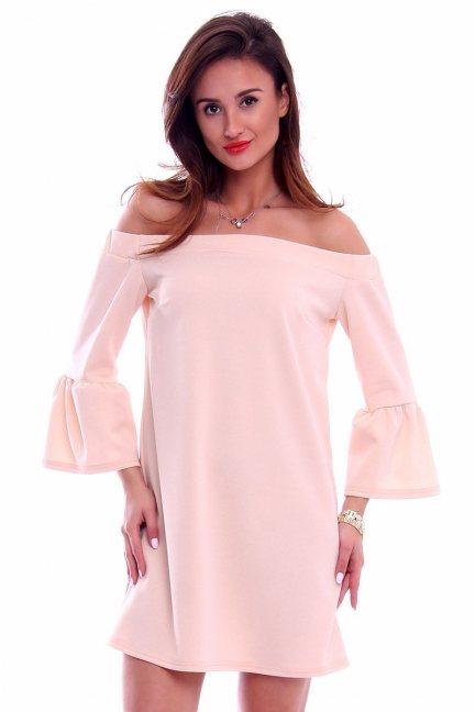 Sukienka hiszpanka boho CMK271 pudrowy róż