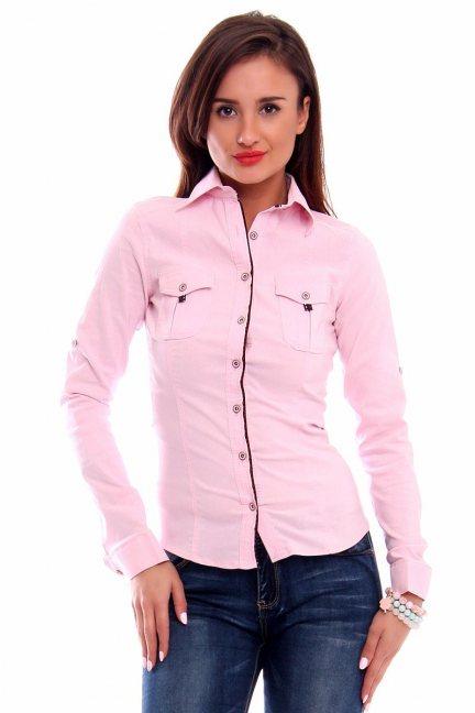 Koszula dopasowana gładka CMK274 różowa