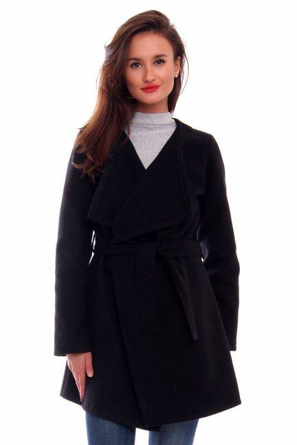 Płaszcz flauszowy wiązany CM433 czarny