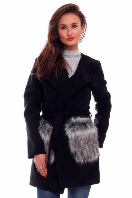 Płaszcz flauszowy futro CM515 czarny