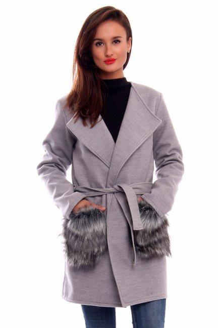 Płaszcz flauszowy futro CM515 szary