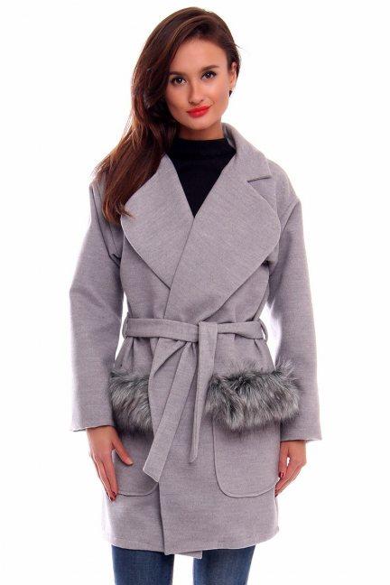 Płaszcz wiązany futerko CMK254 szary