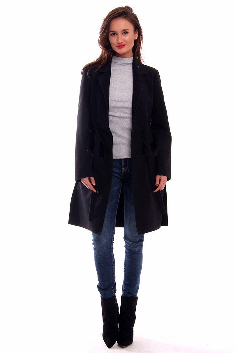 Płaszcz flauszowy futerko CM516 czarny modna odzież sklep