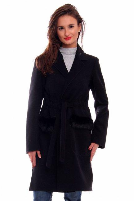 Płaszcz flauszowy futerko CMK256 czarny