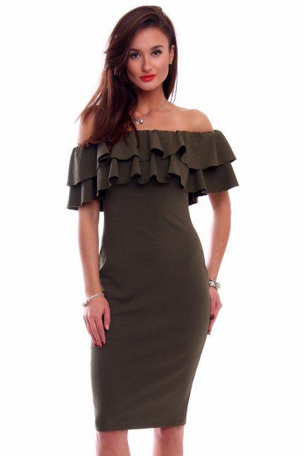 Sukienka ołówkowa hiszpanka CM551 khaki