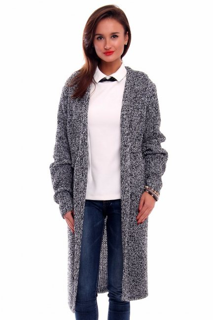 Sweter ciepły kardigan CMK2030 czarno-biały
