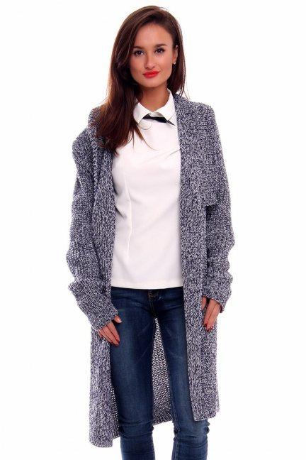 Sweter ciepły kardigan CMK2030 granatowo-biały