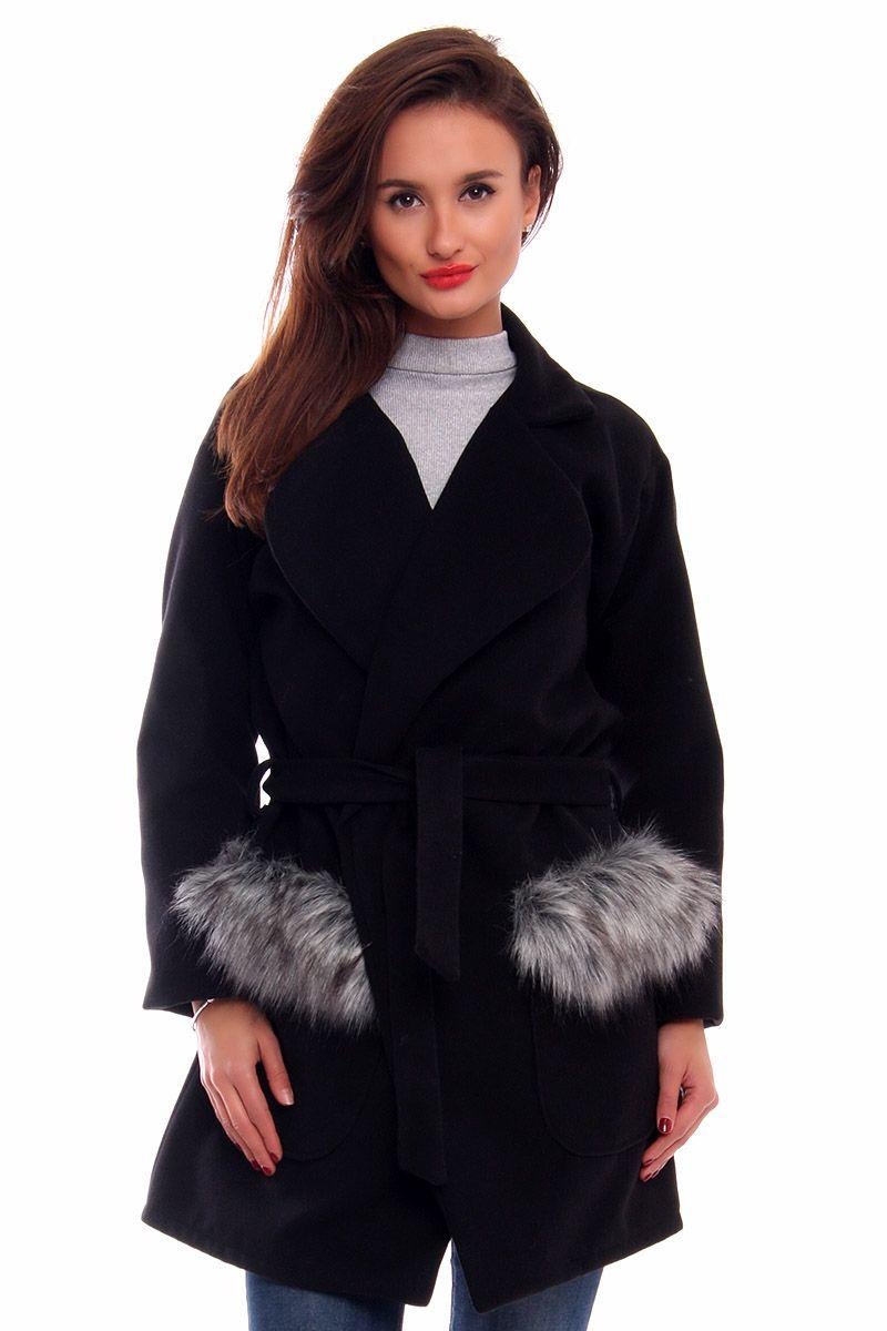 Płaszcz futrzane kieszenie CM517 czarny modna odzież sklep CosmosModa
