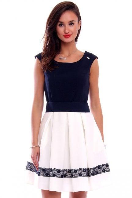 Sukienka zakładki koronka CMK283 ecru