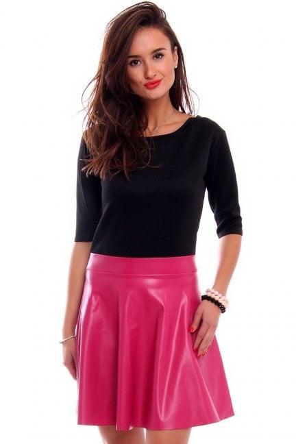 Sukienka skórzana klosz CM524 różowa
