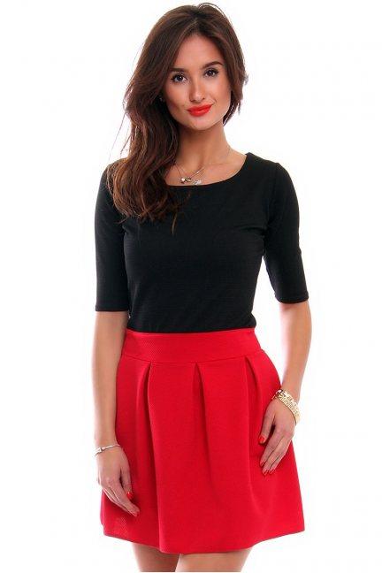 Sukienka z zakładkami mini CM525 czerwona