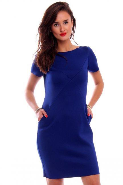Sukienka tuba z kieszeniami CM547 chabrowa