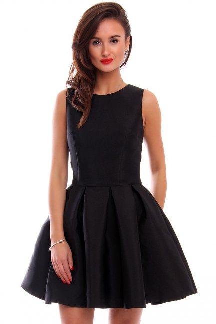 Sukienka zakładki kokarda CMK295 czarna