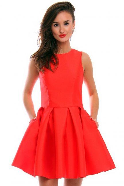 Sukienka zakładki kokarda CMK295 czerwona
