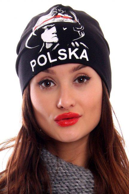 Czapka patriotyczna Polska CMCP28 czarna