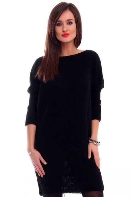 Tunika sweter z kokardką CMK2038 czarna