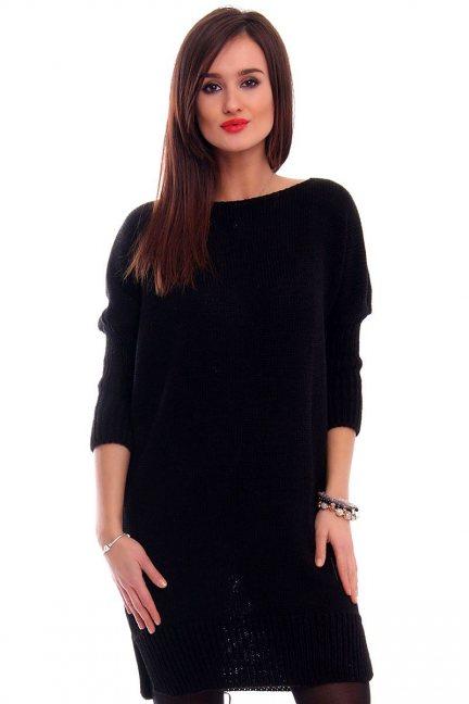 Sukienka tunika z kokardką CMK2038 czarna