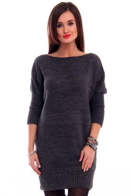 Tunika sweter z kokardką CMK2038 grafitowa