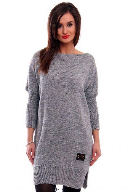 Tunika sweter z kokardką CMK2038 szara