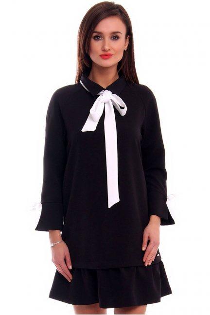 Sukienka z kołnierzykiem CMK305 czarna