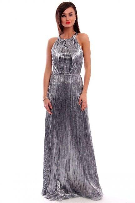 Sukienka plisowana maxi CMK319 srebrna