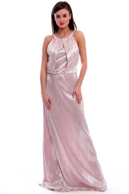 Sukienka plisowana maxi CMK319 różowa
