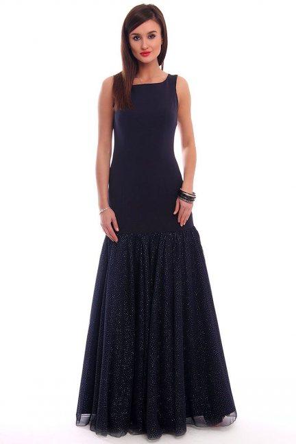 Sukienka długa z tiulem CMK320 granatowa
