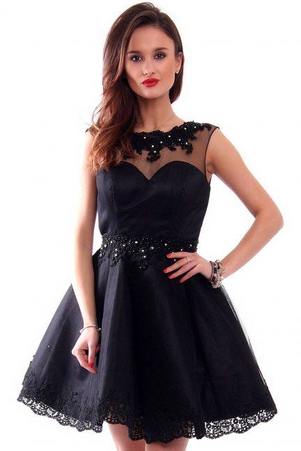 Sukienka tiul z koronką CMW09 czarna