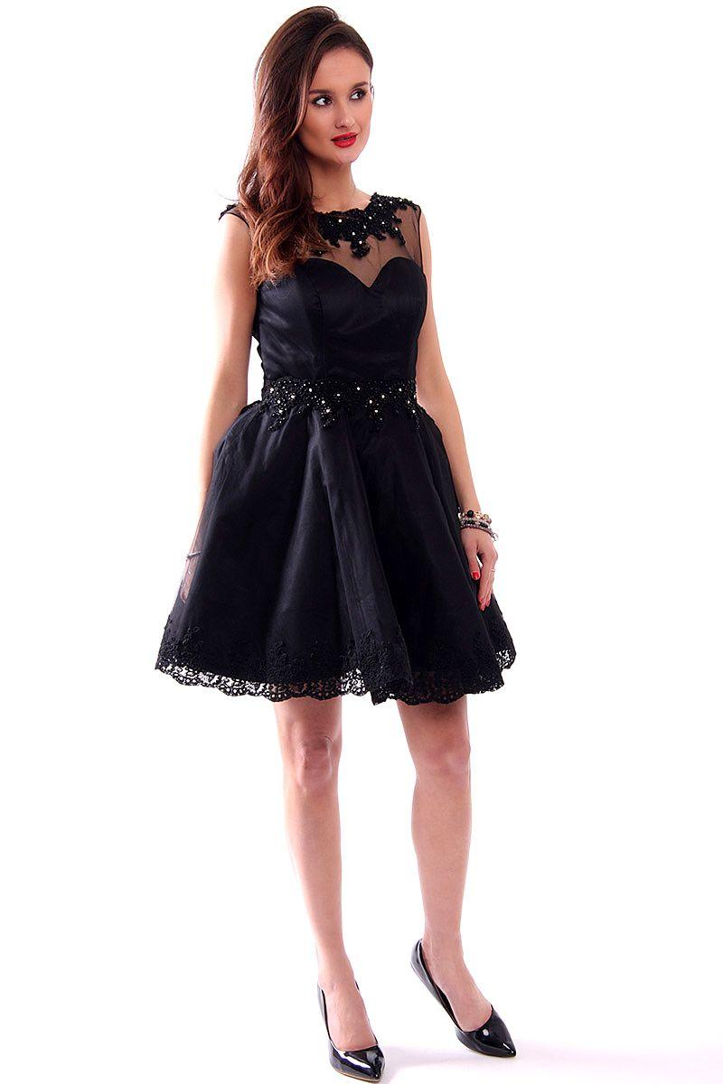 10ae84fc95 Sukienka tiul z koronką CMW09 czarna sukienki na studniówkę CosmosModa