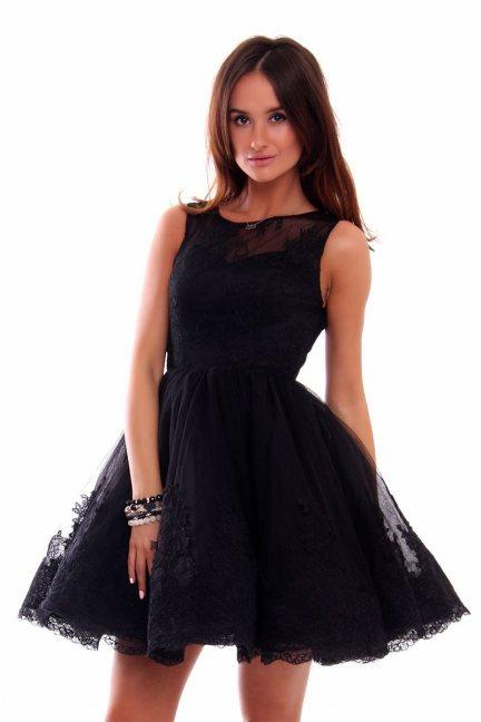 Sukienka rozkloszowana tiul CMW03 czarna