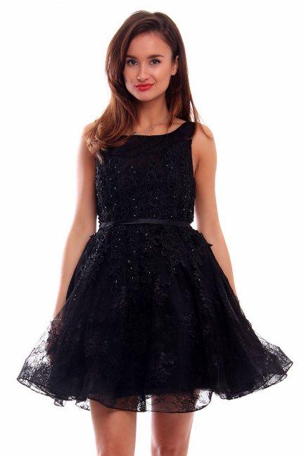 Sukienka z koronki haftowana CMW06 czarna