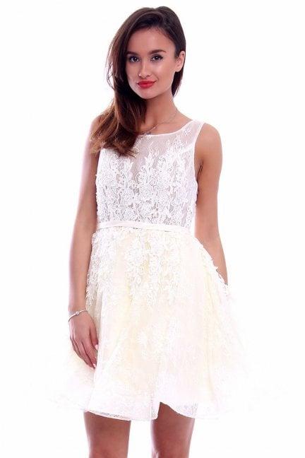 Sukienka z koronki haftowana CMW06 ecru