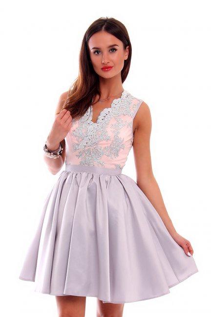 Sukienka rozkloszowana CMW07 szara
