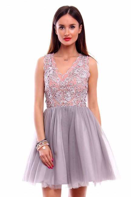 Sukienka tiulowa koronka CMW08 szara